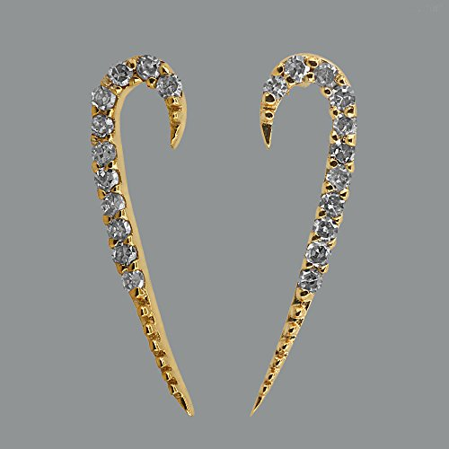 Natural 0.15 Ct Diamond Pave 18k Solid Yellow Gold Fashion Stud Earrings Handmade (0.15 Ct Natural Diamond)