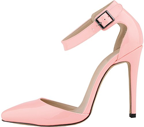 Salabobo Womens All Match Sexy Fashion OL Work Dress Pionted-toe Stiletto PU Pumps Pink 9WTi3dp5vQ
