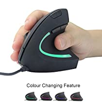 Vertical Mouse with LED Light, Configurable DPI Switch, and Improved Ergonomic Design