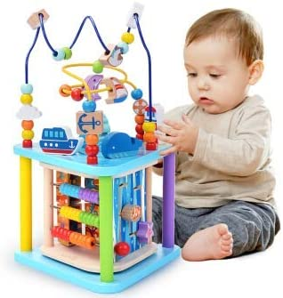 Baobë Juguete de Madera para Bebé Juguete Actividad Cubo de Madera Juguetes de Cubo para niños, Laberinto Educativo para niños pequeños, Centro de Actividades 4-in-1