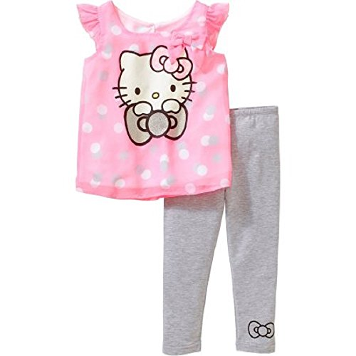 Hello Kitty Tutu Outfit (Hello Kitty Toddler Girl Hi-Low Tunic and Legging Outfit Set 5T)