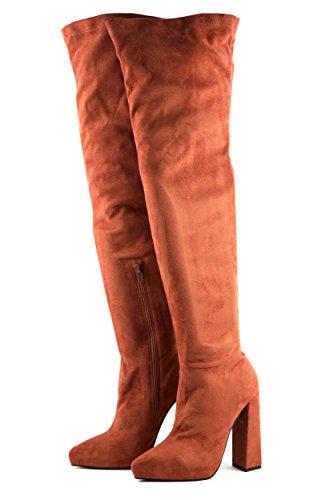 Jeffrey Campbell Damen Stiefel Overknees Isolate Gr. 37 Rust Rost Braun Rot 37