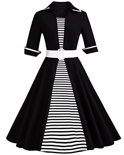 Pin Up Girl Fancy Dress (ZAFUL Women Vintage Lapel 3/4 Sleeve Dress Stripe Patchwork Pinup Party Swing Dress Plus Size with Belt (3XL, Black 2))