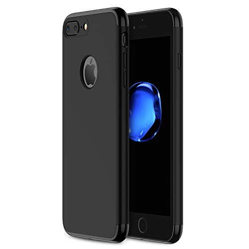 iPhone 7 Plus Case RANVOO Stylish Thin Hard Case with 3 Detachable Parts for Apple iPhone 7 Plus 5.5, JET BLACK and MATTE BLACK, [CLIP-ON] (Jet Black Matte)