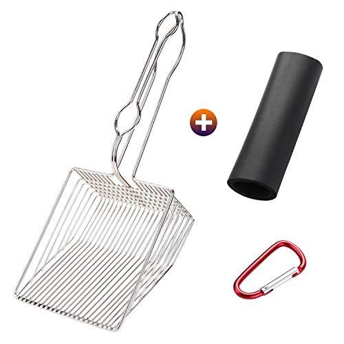 OWNPETS Non-Stick Cat Litter Scoop with Foam Handle, Durable Coated Metal Litter Scooper with Deep Shovel, Carabiner…