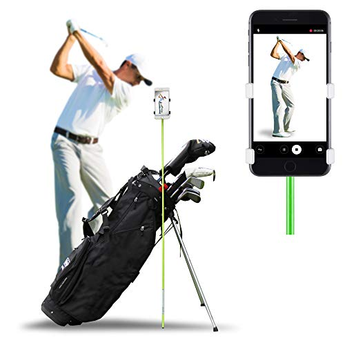 SelfieGOLF Golf Swing Phone Holder - Selfie Putting Training Aids - Golf Analyzer Accessories | Winner of The PGA Best Product | Works with Any Smart Phone and Alignment Sticks