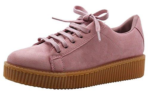 Zapatos deportivos planos de plataforma y cordones para mujer - Tallas 3 - 8. Pastel Pink Suede / Beige Sole