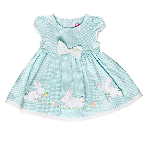 Good Lad Toddler Thru 4/6X Girls Turquoise Seersucker Dress with Bunny Appliques (2T)