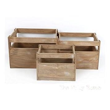 Cajas de madera. Cajas de frutas. Cajas de almacenaje. Cajas para decorar. Disponible en 3 tamaños. (3): Amazon.es: Oficina y papelería
