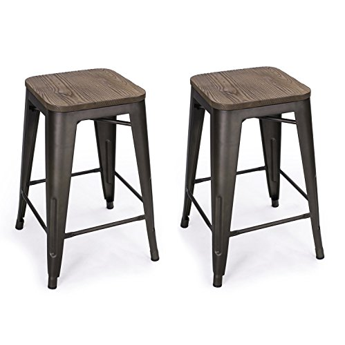 DecentHome 24 Inches Metal Frame Stackable Backless Tolix Style Bar Stools Indoor-Outdoor Counter Height Stool with Wood Square Seat Set of 2 Antique Bronze