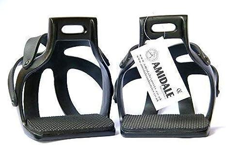 """AMIDALE ALUMINIUM ENDURANCE FLEX RIDE CAGED SAFETY HORSE STIRRUPS BLACK 4.75/"""""""