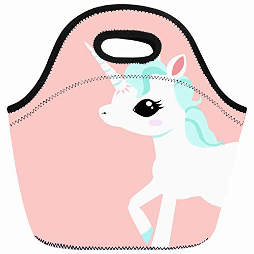 Ahawoso Reusable Insulated Lunch Tote Bag Little Unicorn With Blue Mane Zippered 10X11 Neoprene School Picnic Gourmet Lunchbox