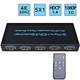 4K@30Hz HDMI Switch 5x1 FiveHome 5 Port HDMI Switcher Support Auto Switch