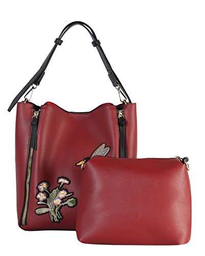 Daisy XH 6433 Embroidered amp; Leather Red Rimen Zipper Double amp; 2 PU Bee LrVWo6YcY8 Pieces Hobo Set wn01qRf