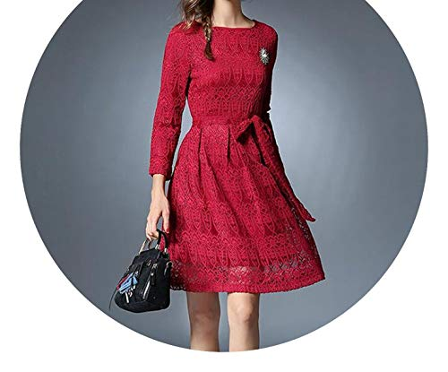 Spring Long Sleeved Black Lace Dress Vestidos Mujer Invierno Autumn Dress Kerst K9276,Red,L