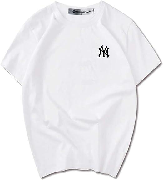 CPAI Unisex Teens MLB NY Yankees Camiseta de Manga Corta Ocio Deportes Béisbol Camiseta de algodón para Hombres y Mujeres,Blanco,XL: Amazon.es: Hogar