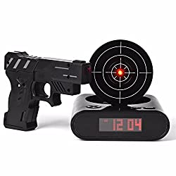 Gun Alarm Clock Shoot Alarm Clock Gun Clock Lock N Load Target Alarm Clock office gadgets (Black)