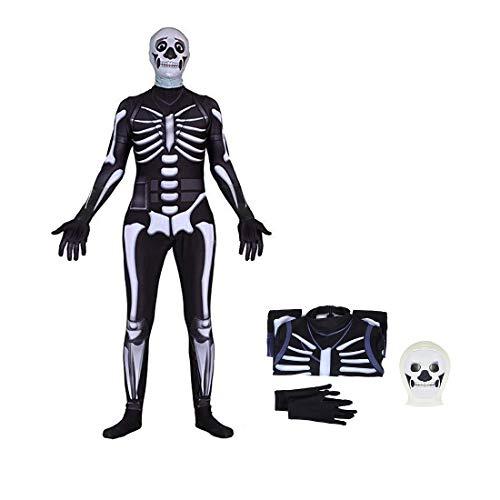 Comtervi Fortnite Skull Trooper Costume Halloween Kids Zentai Bodysuit Cosplay Best Gift for Child Dress up (XL)