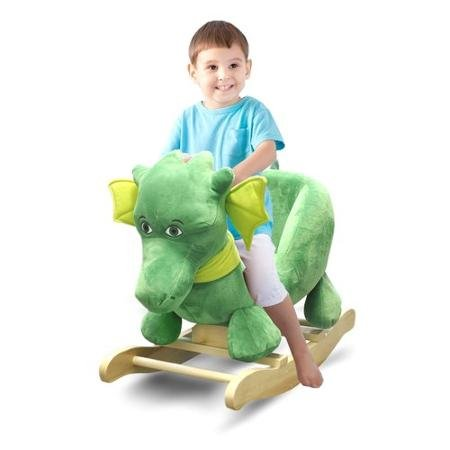 Jump and Dream Children's Dragon Shape Gliders Hardwood Rocking Chair, Natural Wooden Base Green Soft Padded (Dragon Soft Rocker)