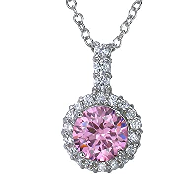 Sterling Silver Pink CZ Pendant With 18 Inch Chain 7 MM