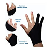 Artist Glove for Drawing Tablet Artist's Drawing Anti-Fouling Glove with Two Fingers for Graphics Drawing Tablet (1 Unit of Free Size, Good for Right Hand or Left Hand)
