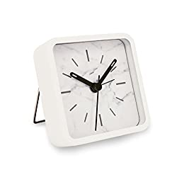 Slash Modern Small Portable Marble Pattern Metal Case Quartz Analog Desk Clock for Sitting Room, Bedroom, Office, Battery Operated, Loud Alarm, Quiet, Non-ticking Sweep Second Hand (White Marble)