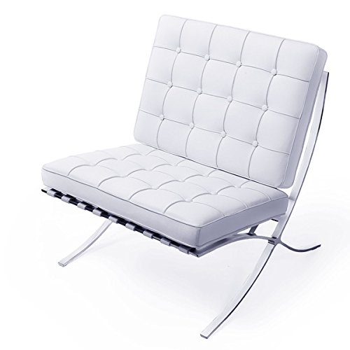Amazon.com: MCM Classics Barcelona Style Leather Lounge Chair In White  Color: Kitchen U0026 Dining