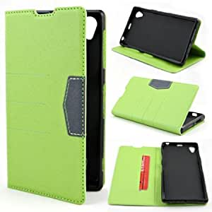 Cerhinu Simplified Design PU Leather Flip with Card Holder Case Cover for Sony Xperia Z1 C6902 / L39h Green + 1 gift