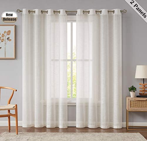 Beauoop Semi Sheer Window Curtains 63 Inches Long Linen Blend Panel