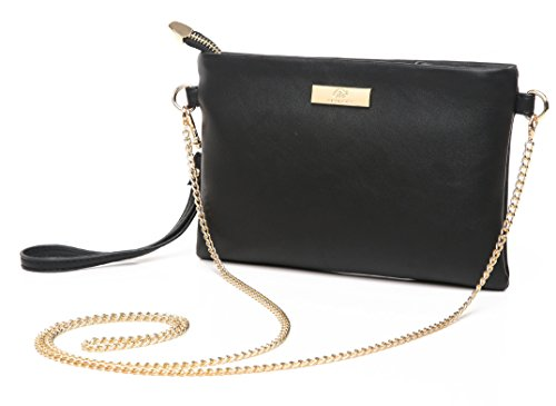 Aitbags Soft PU Leather Wristlet Clutch Crossbody Bag with Chain Strap Cell Phone Purse Black ()
