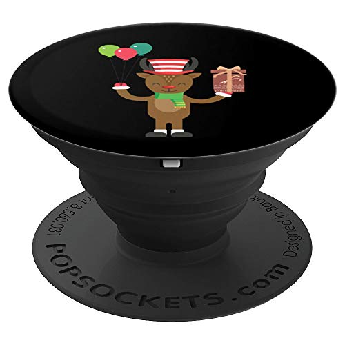 Happy Party Reindeer With Balloons & Gift Christmas Grip - PopSockets Grip and Stand for Phones and Tablets]()