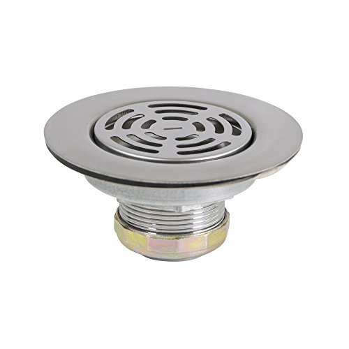 Everflow 7581 Flat Stainless Steel RV Mobile Shower Strainer - Drain Assembly for Kitchen or Laundry Sinks (Shower Strainer Accessory)
