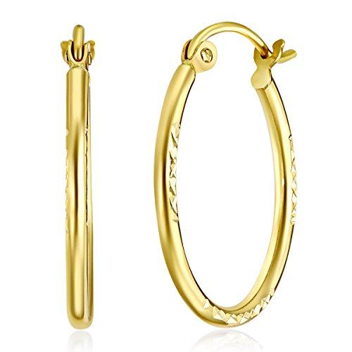 Wellingsale Ladies 14k Yellow Gold Diamond Cut Polished Satin 1.5mm Oval Hoop Earrings (15 x 20mm)