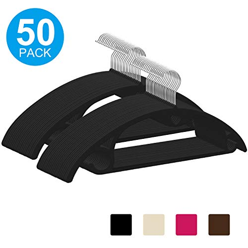 IEOKE Premium Velvet Hangers, Non-Slip Suit Clothes Hangers Coat Hangers (50-Pack) Ultra Thin Space Saving with Heavy Duty 360 Swivel Chrome Hook