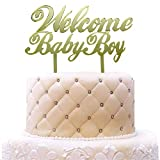 Welcome Baby Boy Cake Topper Acrylic Mirror Gold, Oh Baby Shower, Gender Reveal for Baby Boy Party Decorations