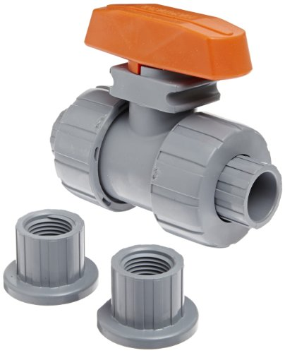 Hayward TB2050ST Series TB True Union Ball Valve, Socket/Threaded End, CPVC with FPM Seals, 1/2