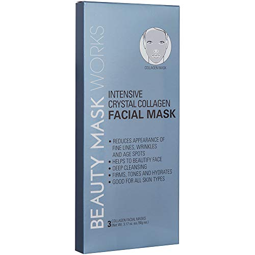 Beauty Mask Works Intensive Crystal Collagen Facial Mask, Reduces Appearance of Fine Lines, Wrinkles and Age Spots, for All Skin Types, - Intensive Line