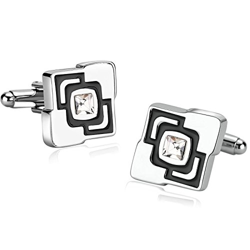 Gnzoe Stainless Steel Men's Shirt Cuff Links Business Wedding Enamel Zirconia Black ()