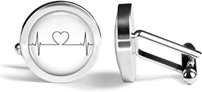 Angled Edition Oakmont Cufflinks Heartbeat Cufflinks Heart Rate Cardiologist Cuff Links