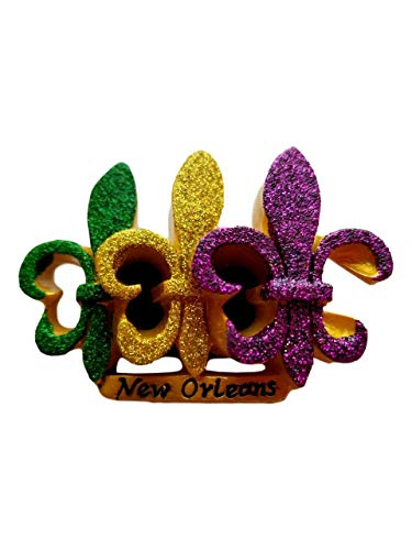 Purple Green Gold Glitter Fleur De Lis Mardi Gras Magnet Party Favor