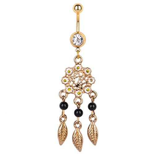 (Stylish Navel Belly Ring Rhinestone Button Bar Barbell Body Piercing Jewelry (Design - Golden Dreamcatcher))