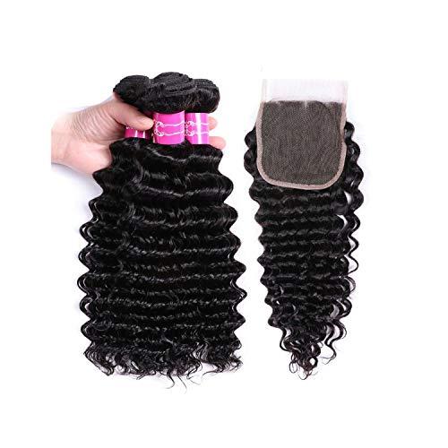 Wigs Deep Wave Bundles With Closure Natural Color Human Hair Bundles With Closure Non Remy Hair Extensions,14 14 14 & Closure12,Natural Color,Three Part ()