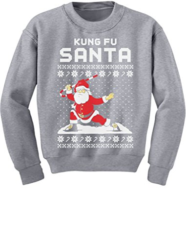 Tstars TeeStars - Kung Fu Santa Ugly Christmas Sweater Funny Youth Kids Sweatshirt Large Gray