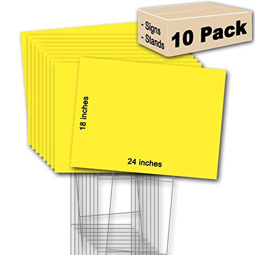 10 Yellow Signs Blank 18''x24'' & 10 Double -