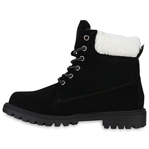 Stiefelparadies - Botas Militar Mujer negro blanco