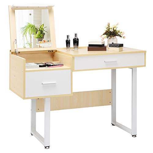 (Giantex Vanity Table with Flip Top Mirror, Makeup Dressing Table Computer Laptop Desk Mutiple-use for Work Study, 5 Organizer Large Storage for Tall Bottled Cosmetics Bedroom Vanities w/ 2 Big Drawers )