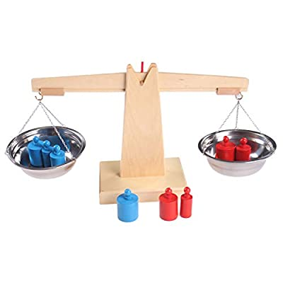 Wooden Montessori Math Materials Balance Scale Set Preschool Educational Learning Toys for Children (Balance Scale Style 1): Toys & Games
