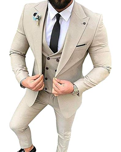 Fitty Lell Men's Suit 3 Pieces Peaked Lapel Blazer Slim Fit Wedding Groom Tuxedos(36 ()
