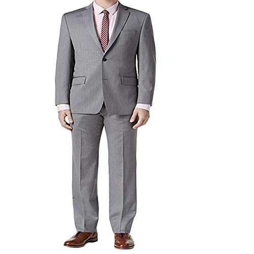 (Michael Kors Mens Pinstripe Two Button Wool Suit Set Gray 46)
