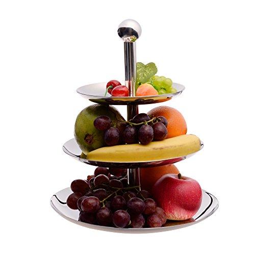 IMEEA 3 Tier Cupcake Stand Fruit Dessert Candy Serving Platter Stainless Steel for Wedding & Home & (Multi Tier Buffet Server)